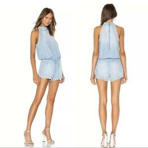 ANTHRO CLOTH & STONE Blue Chambray Romper, Size M